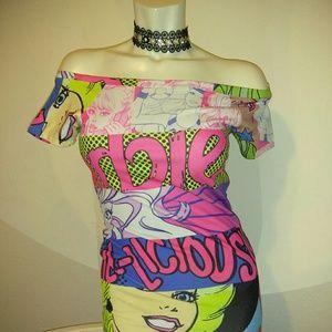 Off shoulder Barbie body con dress